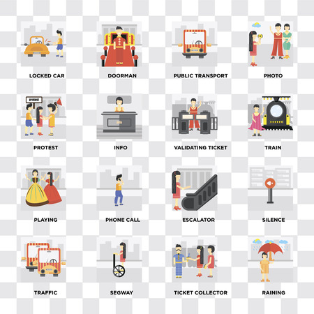 Set Of 16 icons such as Raining, Ticket collector, Segway, Traffic, Silence, Locked car, Protest, Playing, Validating ticket on transparent background, pixel perfect