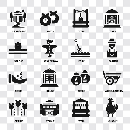 Set Of 16 icons such as Chicken, Well, Stable, Grains, Wheelbarrow, Landscape, Sprout, Seeds, Fork on transparent background, pixel perfect