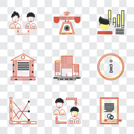 Set Of 9 simple transparency icons such as Agreement, Businessman, Customer service, Flats, Banking, Stats, Ringing, Collaboration, can be used for mobile, pixel perfect vector icon pack on Banque d'images - 111751345