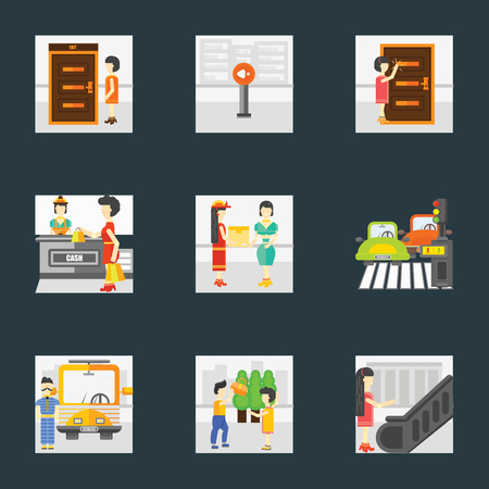 Set Of 9 simple icons such as Escalator, Helping, Driver, Pedestrian, Courier, Shopping, Knocking, Silence, Exit, can be used for mobile, pixel perfect vector icon pack on black background