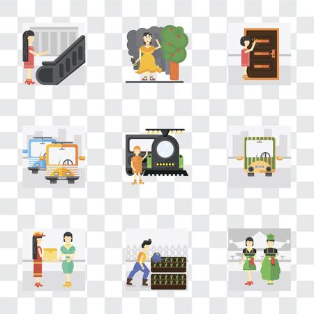 Ensemble de 9 icônes de transparence simples telles que serveur, jardinage, courrier, transports publics, train, frappe, ivresse, escalator, peuvent être utilisées pour le pack d'icônes vectorielles mobiles, pixel parfait sur Vecteurs
