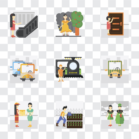 Set Of 9 simple transparency icons such as Waiter, Gardening, Courier, Public transport, Train, Knocking, Drunk, Escalator, can be used for mobile, pixel perfect vector icon pack on