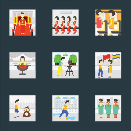 Set Of 9 simple icons such as Raining, Pet, Waving flag, Photo, Eating, Occupant, Pregnant priority, Doorman, can be used for mobile, pixel perfect vector icon pack on black background