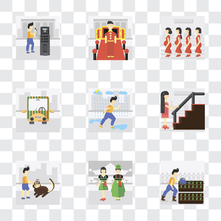 Set Of 9 simple transparency icons such as Gardening, Waiter, Walking the dog, Stairs, Raining, Public transport, Pregnant priority, Doorman, phone, can be used for mobile, pixel perfect