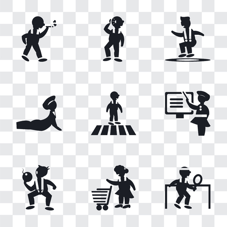 Set Of 9 simple transparency icons such as Man playing ping pong, Woman with Shopping Cart, The Texas Chain Saw Massacre, Teaching, Crossing Road, Yoga posture, Jumping Man, Hearing,