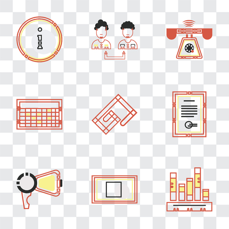 Set Of 9 simple transparency icons such as Stats, Rectangular, Protest, Contract, Attachments, Ringing, Collaboration, Customer service, can be used for mobile, pixel perfect vector icon pack Banque d'images - 111751374