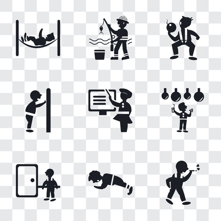 Set Of 9 simple transparency icons such as Man walking and smoking, doing pushups, knocking a door, Celebrating, Woman Teaching, pushing door with his body, The Texas Chain Saw Ilustração