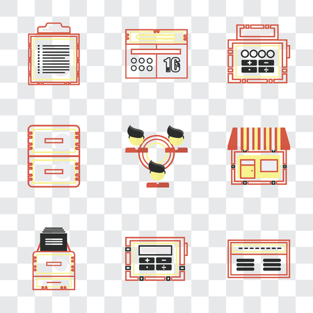 Set Of 9 simple transparency icons such as Banker, Calculating, Office material, On, Network, Calendar, Text, can be used for mobile, pixel perfect vector icon pack on Illustration