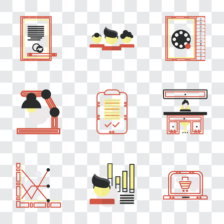 Set Of 9 simple transparency icons such as On, Stats, Administrator, Check mark, Studying, Phone number, Network, Agreement, can be used for mobile, pixel perfect vector icon pack on transparent