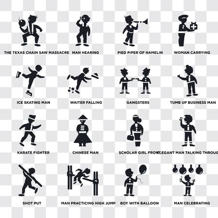 Set Of 16 transparent icons such as Man Celebrating, Waiter Falling, practicing high jump, Shot Put, Elegant man talking through phone, Woman carrying, web UI icon pack, pixel perfect Illustration