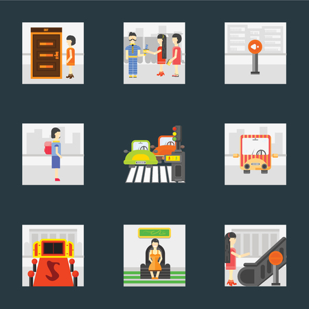 Set Of 9 simple icons such as Stop, Sitting, Entrance, Public transport, Pedestrian, Walking to school, Silence, Ticket collector, Exit, can be used for mobile, pixel perfect vector icon pack on Stock Illustratie