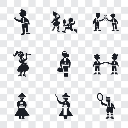 Set Of 9 simple transparency icons such as Sportive man playing with a ball, Napoleon figure, Chinese man, Gangsters, Scholar girl front, Woman taking photo, Two men cocktail glasses, Boy