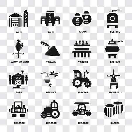 Ensemble de 16 icônes telles que baril, tracteur, moulin à farine, grange, girouette, auge sur fond transparent, pixel parfait