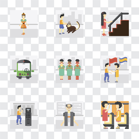 Set Of 9 simple transparency icons such as Occupant, Scholar, Public phone, Waving flag, transport, Stairs, Walking the dog, Worker, can be used for mobile, pixel perfect vector icon pack on