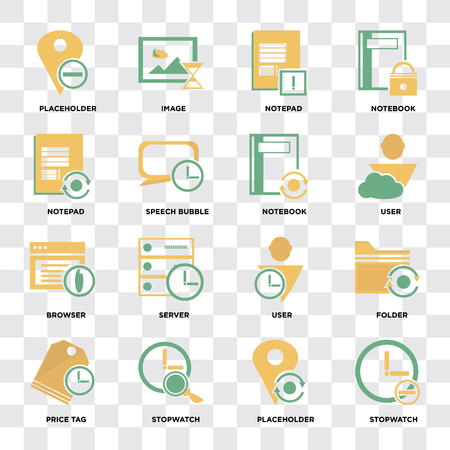 Set Of 16 icons such as Stopwatch, Placeholder, Price tag, Folder, Notepad, Browser, Notebook on transparent background pixel perfect