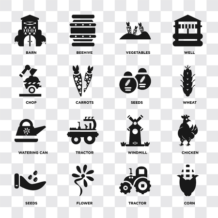 Set Of 16 icons such as Corn, Tractor, Flower, Seeds, Chicken, Barn, Chop, Watering can on transparent background, pixel perfect Vectores