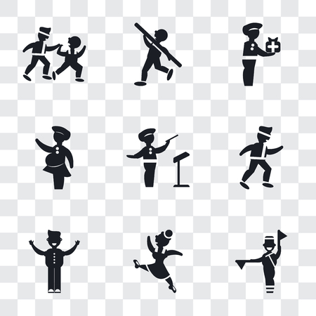 Set Of 9 simple transparency icons such as Flag semaphore language, Gymnast Girl, Man with open arms, Karate fighter, Orchestra director, Woman covering, carrying, Shot Put, Two Men Practicing
