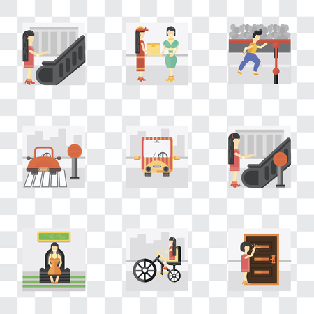 Set Of 9 simple transparency icons such as Knocking, Bicycle, Sitting, Stop, Public transport, Finish, Courier, Escalator, can be used for mobile, pixel perfect vector icon pack on transparent