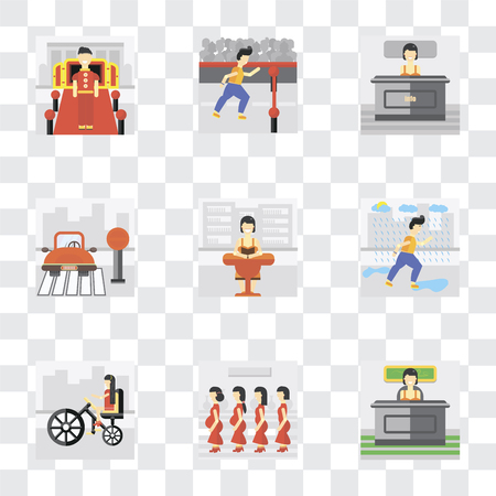 Set Of 9 simple transparency icons such as Work, Pregnant priority, Bicycle, Raining, Reading, Stop, Info, Finish, Doorman, can be used for mobile, pixel perfect vector icon pack on transparent