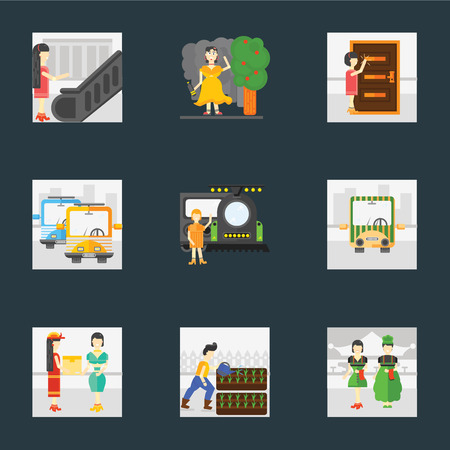 Set Of 9 simple icons such as Waiter, Gardening, Courier, Public transport, Train, Knocking, Drunk, Escalator, can be used for mobile, pixel perfect vector icon pack on black