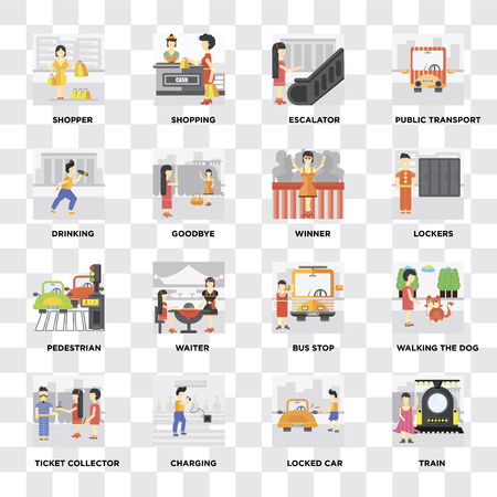 Set Of 16 icons such as Train, Locked car, Charging, Ticket collector, Walking the dog, Shopper, Drinking, Pedestrian, Winner on transparent background, pixel perfect