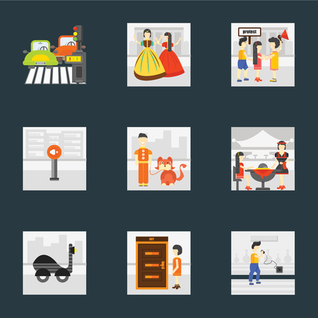 Set Of 9 simple icons such as Charging, Exit, Scooter, Waiter, Walking the dog, Silence, Protest, Playing, Pedestrian, can be used for mobile, pixel perfect vector icon pack on black background
