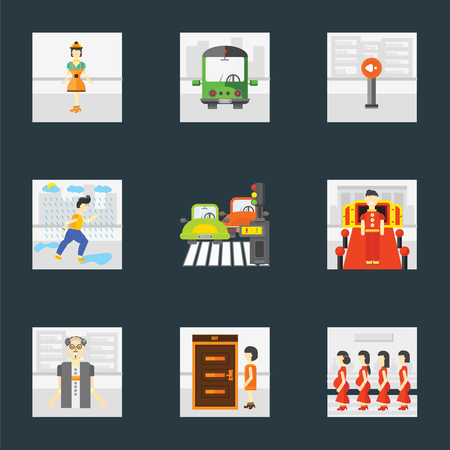 Set Of 9 simple icons such as Pregnant priority, Exit, Scholar, Doorman, Pedestrian, Raining, Silence, Public transport, Worker, can be used for mobile, pixel perfect vector icon pack on black