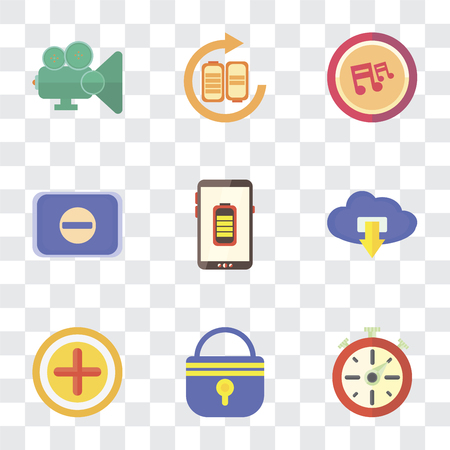 Set Of 9 simple transparency icons such as Stopwatch, Locked, Add, Cloud computing, Battery, Switch, Note, Video player, can be used for mobile, pixel perfect vector icon pack on transparent