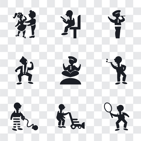 Set Of 9 simple transparency icons such as Tennis player, Person mowing the grass, War prisioner, Smoking man, Man doing Yoga, Dancing Motion, playing a flute, Sitting man reading, Hugging,