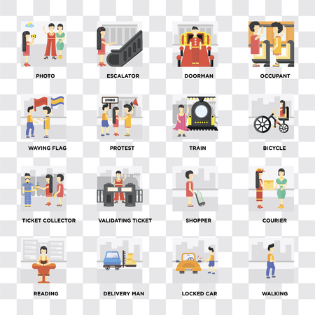 Set Of 16 icons such as Walking, Locked car, Delivery man, Reading, Courier, Photo, Waving flag, Ticket collector, Train on transparent background, pixel perfect Illusztráció