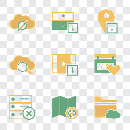 Set Of 9 simple transparency icons such as Folder, Map, Archive, Calendar, Video player, Cloud computing, Placeholder, can be used for mobile, pixel perfect vector icon pack