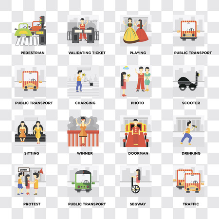 Set Of 16 icons such as Traffic, Segway, Public transport, Protest, Drinking, Pedestrian, Sitting, Photo on transparent background, pixel perfect