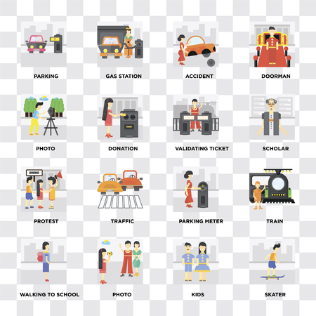 Set Of 16 icons such as Skater, Kids, Photo, Walking to school, Train, Parking, Protest, Validating ticket on transparent background, pixel perfect