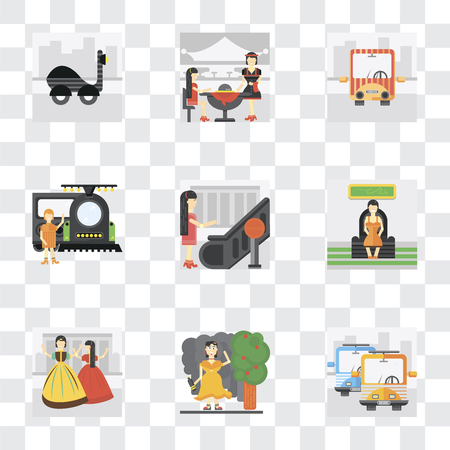 Set Of 9 simple transparency icons such as Public transport, Drunk, Playing, Sitting, Stop, Train, Waiter, Scooter, can be used for mobile, pixel perfect vector icon pack on Illustration