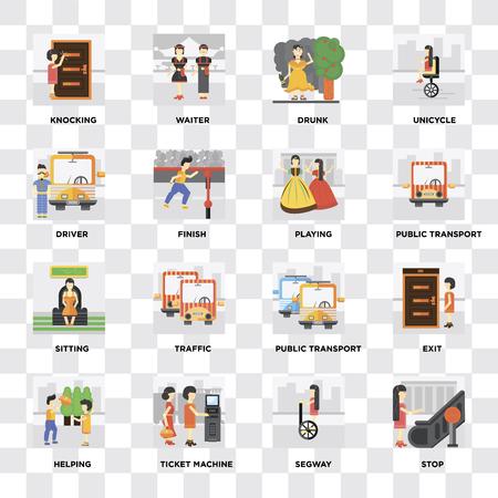 Ensemble de 16 icônes telles que arrêter, distributeur de billets, aider, sortir, frapper, chauffeur, assis, jouer sur fond transparent, pixel parfait