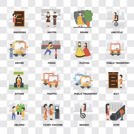 Set Of 16 icons such as Stop, Ticket machine, Helping, Exit, Knocking, Driver, Sitting, Playing on transparent background, pixel perfect