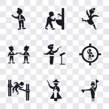 Set Of 9 simple transparency icons such as Flag semaphore language, Napoleon figure, Man practicing high jump, Businessman inside a ball, Orchestra director, Gangsters, Gymnast Girl, drinking,