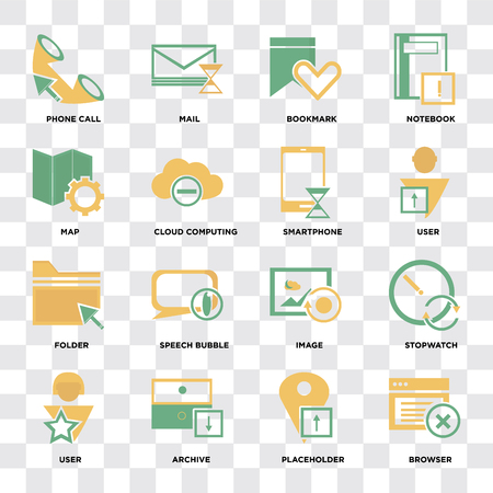 Set Of 16 icons such as Browser, Placeholder, Archive, User, Stopwatch, Phone call, Map, Folder, Smartphone on transparent background pixel perfect