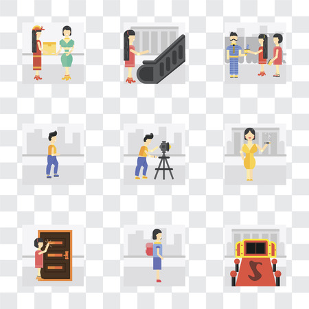Set Of 9 simple transparency icons such as Entrance, Walking to school, Knocking, Smoking, Photography, Walking, Ticket collector, Escalator, Courier, can be used for mobile, pixel perfect vector