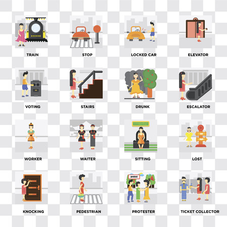 Set Of 16 icons such as Ticket collector, Protester, Pedestrian, Knocking, Lost, Train, Voting, Worker, Drunk on transparent background, pixel perfect