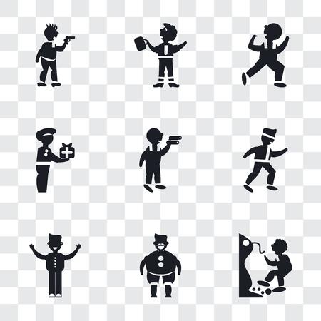 Conjunto de 9 iconos de transparencia simple como hombre cayendo de un precipicio, gordo con sombrero y bigote, con los brazos abiertos, luchador de karate, mirando, mujer que lleva, hombre bailando, empresario