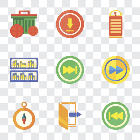 Set Of 9 simple transparency icons such as Back, Exit, Compass, Fast forward, Skip, Archive, Upload, Garbage, can be used for mobile, pixel perfect vector icon pack on transparent background