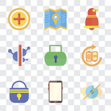 Set Of 9 simple transparency icons such as Hide, Smartphone, Locked, Battery, Controls, Notification, Map, Add, can be used for mobile, pixel perfect vector icon pack on transparent Ilustración de vector