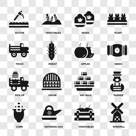 Set Of 16 icons such as Windmill, Vegetables, Watering can, Corn, Farmer, Scythe, Truck, Pick up, Apples on transparent background, pixel perfect