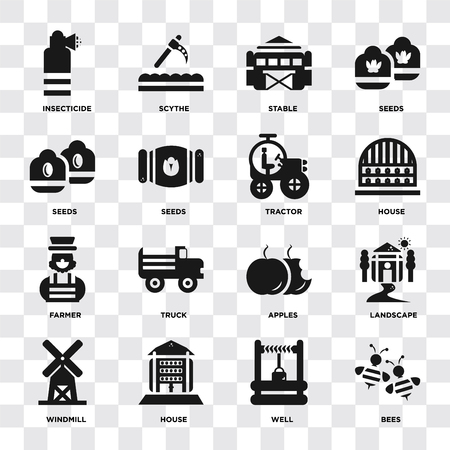 Set Of 16 icons such as Bees, Well, house, Windmill, Landscape, Insecticide, Seeds, Farmer, Tractor on transparent background, pixel perfect
