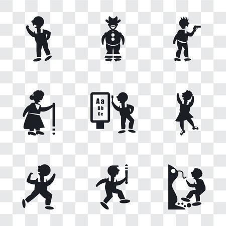 Conjunto de 9 iconos de transparencia simple como hombre cayendo de un precipicio, jugador de béisbol con bate, hombre bailando, movimiento de bailarín, examen del oftalmólogo, anciana caminando, atraco criminal, vaquero