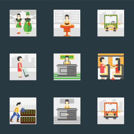 Set Of 9 simple icons such as Public transport, Info, Gardening, Work, Shopper, Reading, Waiter, can be used for mobile, pixel perfect vector icon pack on black