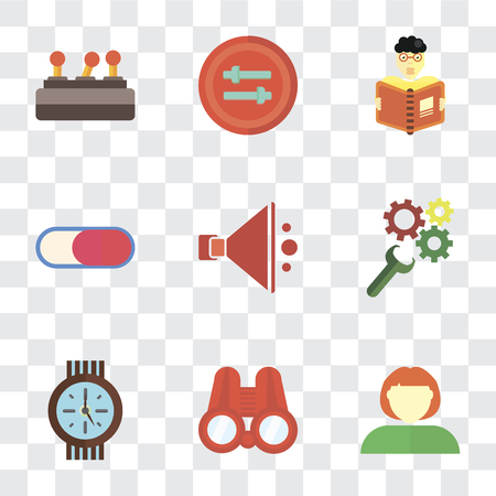 Set Of 9 simple transparency icons such as User, Binoculars, Clock, Settings, Speaker, Switch, Reading, Controls, can be used for mobile, pixel perfect vector icon pack on transparent