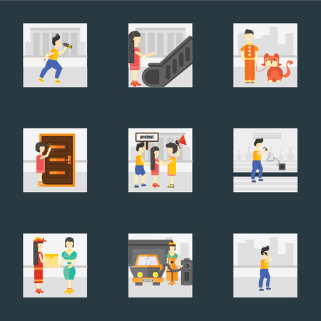 Set Of 9 simple icons such as Phone call, Gas station, Courier, Charging, Protest, Knocking, Walking the dog, Escalator, Drinking, can be used for mobile, pixel perfect vector icon pack on black