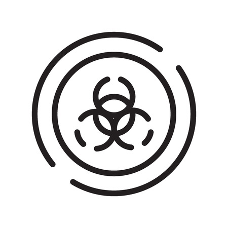 Biohazard icon vector isolated on white background, Biohazard transparent sign , line symbol or linear element design in outline style Illustration